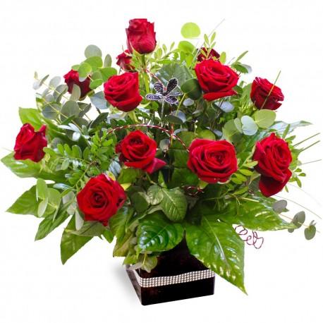 12 red rose gift box